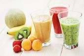 stock photo of fruit shake  - various fruity shakes with fresh fruits  - JPG