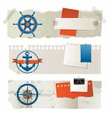 foto of nautical equipment  - Stylized paper banners with nautical elements and place for your text - JPG