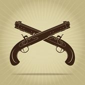 picture of crossed pistols  - Vintage Crossed Percussion Pistols Silhouettes - JPG