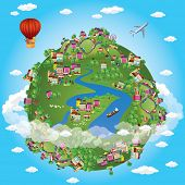 Miniature globe. Vector. Various landscapes like mountain, beach, ocean, town, city, woods and also