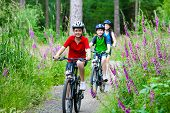 picture of single woman  - Active family biking - JPG