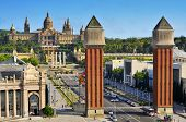 BARCELONA, SPAIN - AUGUST 18: Palau Nacional de Montjuic and Fira on August 18, 2011 in Barcelona, S