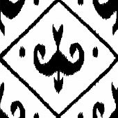 Middle east traditional ikat fabric seamless pattern in black and white, vector