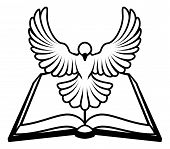 pic of holy-bible  - A Christian Bible dove concept with a white dove representing the holy spirit flying out of the bible - JPG