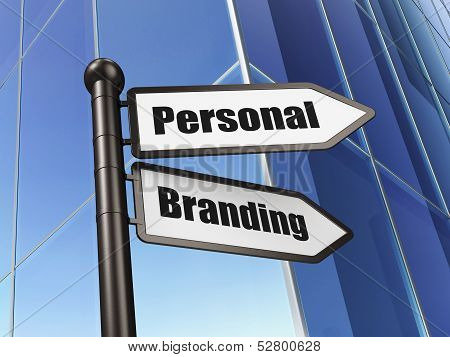 Marketing concept: Personal Branding on Building background