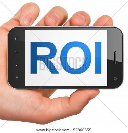 Business concept: ROI on smartphone