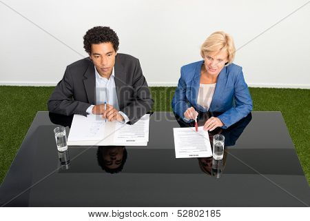 Two human resource managers during a job interview