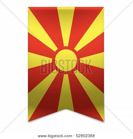 Ribbon Banner - Macedonian Flag
