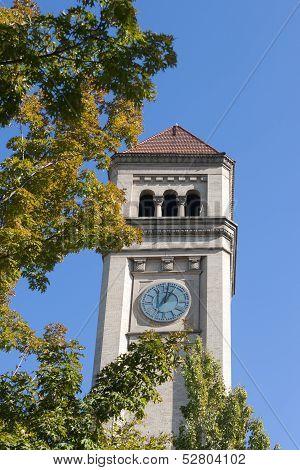 Clock Tower In Spokane, Washington.