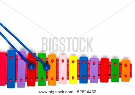 Toy Xylophone On White