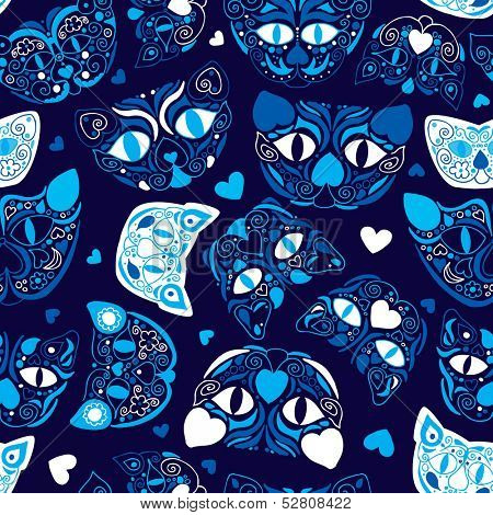 Seamless mexican muerto style cat illustration background pattern in vector
