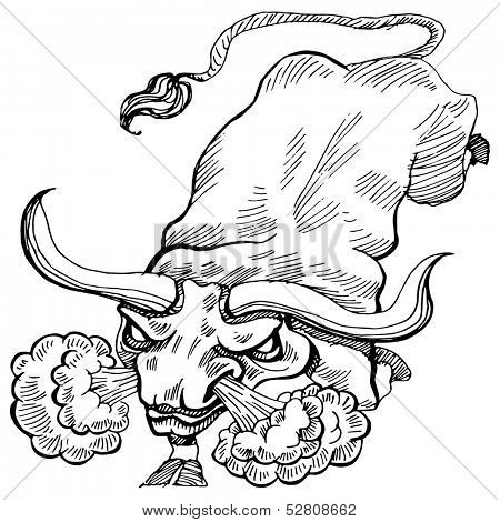 An image of a charging bull.