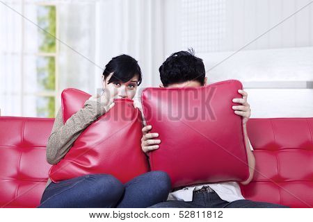Couple Scared Watching Horror Movie