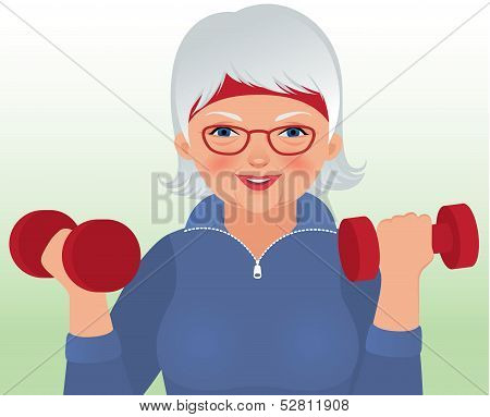 Elderly Woman Doing Fitness