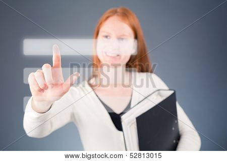 Businesswoman With Digital Buttons