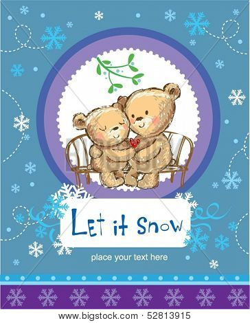 Let it snow. Greeting card with two cute bears.