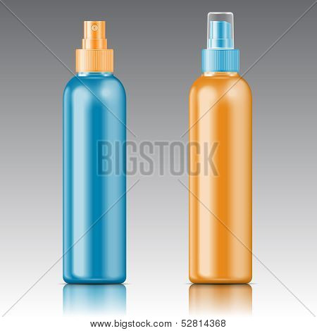 Plantilla de botella pulverizador coloreado.