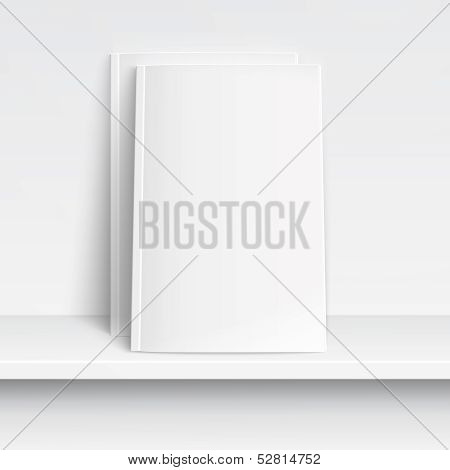 Two blank white magazines on white shelf..