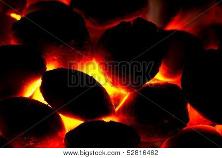 Charcoal Bricket Fire For Barbecue