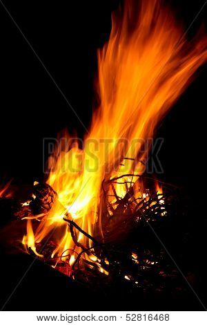 Bright Fire For Braai With Black Background