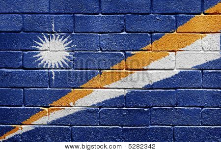 Flag Of Marshall Islands On Brick Wall