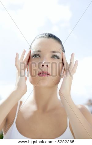 Beautiful Woman Portrait With Blue Eyes And Hands