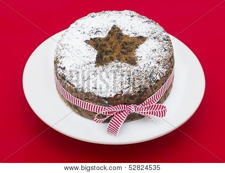 Christmas cake on a red background