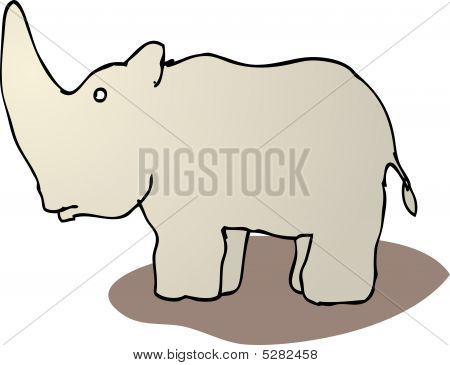 Cute Cartoon Rhinoceros