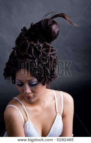 Creative Hairstyle Of Young Woman