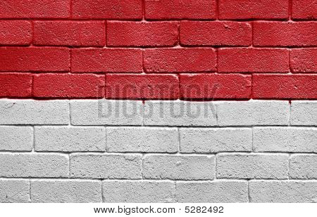 Flag Of Monaco On Brick Wall