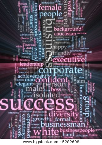 Success Word Cloud Glowing