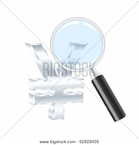 Yen Sign And Magnifying Glass. Vector Illustration