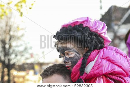 Small Girl With Black Paint