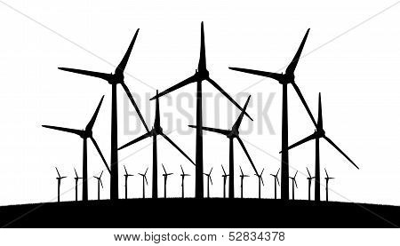 Group Of Different Aeolian Windmills Silhouette