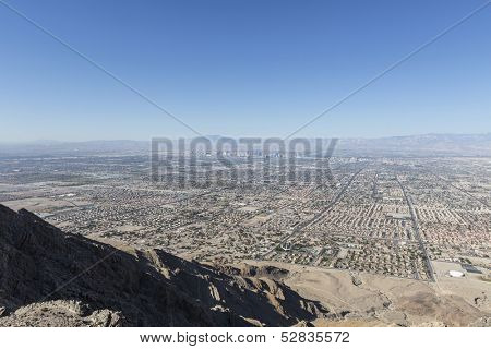 LAS VEGAS, NEVADA - Oct 15:  View of the Las Vegas valley.  Shot from Frenchman Mountain.  Vegas has 149,820 hotel rooms with a average daily rate of $110 on October 15, 2013 in Las Vegas, Nevada.