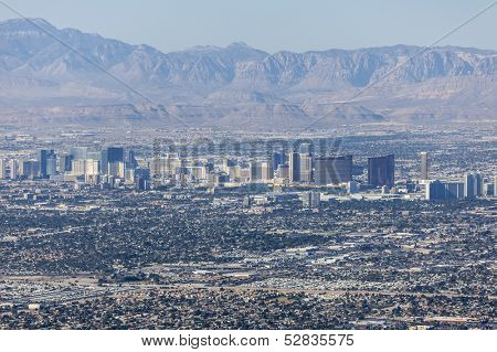 LAS VEGAS, NEVADA - Oct 15:  View of Las Vegas strip.  Shot from Frenchman Mountain.  Vegas has 149,820 hotel rooms with a average daily rate of $110 on October 15, 2013 in Las Vegas, Nevada.