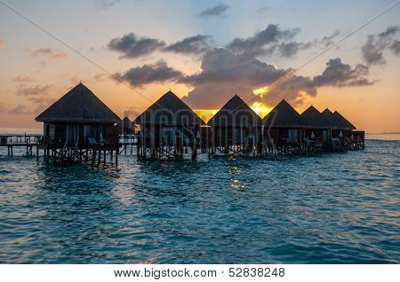 Overwater Bungalows In Maldives, Paradise Island