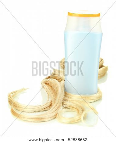 Curly blond hair with shampoo close-up isolated on white
