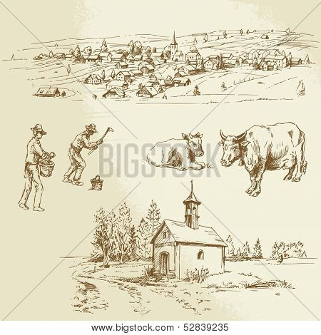 rural landscape, farming - hand drawn illustration