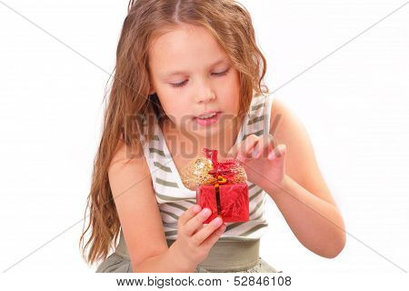 Attractive Little Girl With A Gift For St. Valentine's Day