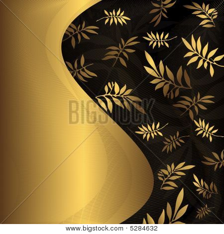 Abstract Floral Black And Golden Frame (vector)