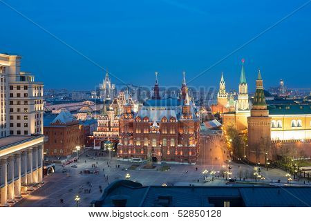 MOSCOW - APR 29: Beautiful night view of the Moscow Kremlin  in April 29, 2013 in Moscow, Russia.