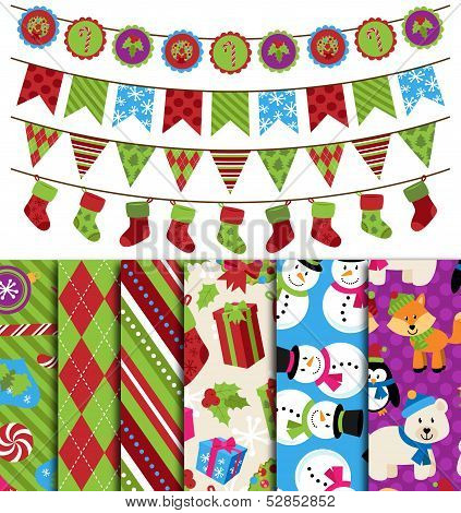 Vector Collection of Christmas and Winter Themed backgrounds and Bunting