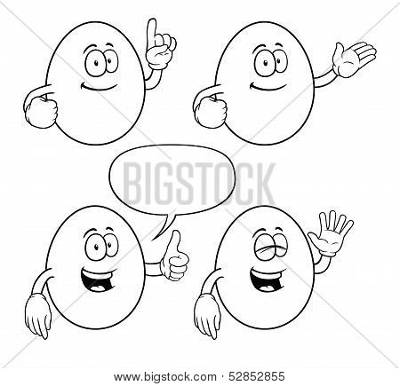 Black and white smiling egg set