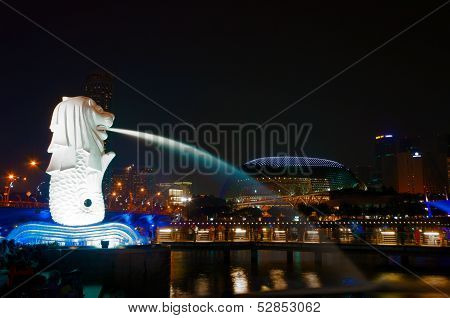 Singapore,Singapore-October 12,2013 : The Merlion Park And Cityscape At Night, Singapore