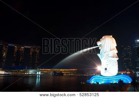 Singapore,Singapore-October 12,2013: The Merlion Park And Cityscape At Night, Singapore
