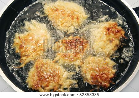 Closeup view of potato pancakes, or