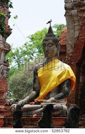 an Ancient buddha at Ayutthaya in Thailand