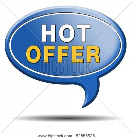 hot offer icon for online internet web shop concept. Webshop shopping sales button announcing bargain for low and best price with the best value for you money.