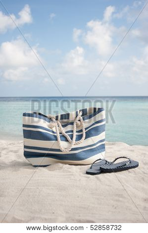 Beach Bag And Flip Flops